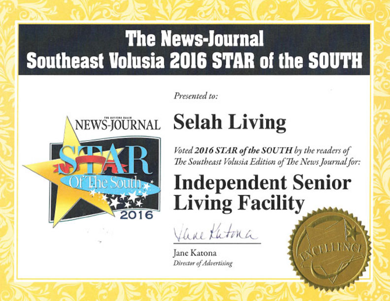 2016 Star of the South Award for Independent Senior Living Facility